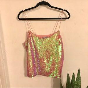 ASOS iridescent sequin cami pink
